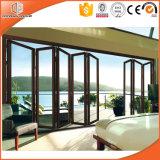 Facendo scorrere il portello di alluminio del balcone, portello di piegatura di alluminio della rottura termica americana di disegno, portello di vetro completamente Tempered di vetratura doppia, scorrevole il portello del patio