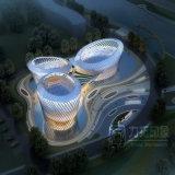 Belleza ligera realista de la foto exterior de la perspectiva 3D del edificio de oficinas de la alta subida