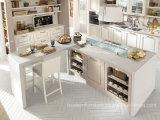 Gabinete de cozinha clássico da madeira contínua da melhor renovação com forma do abanador