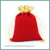 Saco vermelho da jóia de veludo do Drawstring