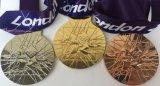 金、銀および青銅が付いているロンドンのオリンピックの記念品メダル