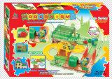 Los trenes fijaron los juguetes de la pista de los bloques huecos