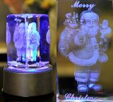machine en cristal du cube 3D gravée par laser