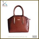PUの学生かばんのブラウンの肩のショッピング革女性旅行ハンドバッグ