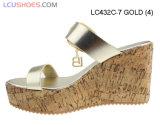 Sandali del tallone di cuneo delle donne dell'oro della cinghia della caviglia dell'inarcamento di alta qualità