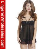 Комплект женское бельё Nightwear Babydoll сетки Underwire сексуальных женщин Strappy