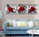 La toile de décoration de maison de peinture de Rose de peinture à l'huile d'art de mur de 3 panneaux estampe des illustrations pour la salle de séjour Mc-255