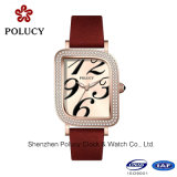 2016 neue Genfstahlrhinestone-Legierungs-Quarz-Uhr-Form-Armbanduhr-Mädchen-Genf-Dame Uhr
