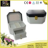 Leather branco Vogue Jewelry Box com Mirror (1139)
