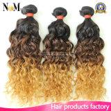 cabelo humano da onda brasileira do corpo de Ombre do tom do cabelo dois da onda de oceano 3bundles