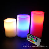 Luz de cera de la vela LED del cambio de los colores para la decoración casera