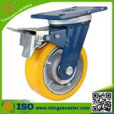 Industrielle Fußrolle mit 200mm gelbem PU-Rad