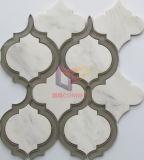 Mattonelle di mosaico di vetro del getto di acqua della miscela di marmo (CFW68)