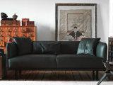 Piccolo sofà sveglio del cuoio genuino delle due sedi impostato (GLS-008)