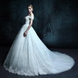A Line Cap Sleeve Real Photo Wedding Dress (ZXB-18)