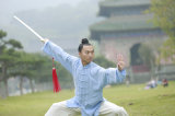 Mola do qui do Taoism TAI & do dobro de bambu do cânhamo do outono roupa grossa da prática da manhã