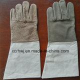 Кевлар перчатки с тумаком холстины, беспрокладочные перчатки кожи работая заварки MIG TIG, фабрику перчаток Welder кожи с сохранённым природным лицом коровы хорошего качества