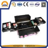 Het middelgrote Roze Kosmetische Geval van de Reis met Plastic Handvat (hb-3181)