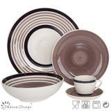 Conjunto de cena de cerámica del círculo pintado a mano de Brown