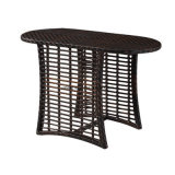 [توب قوليتي] خارجيّ فناء [ويكر] [ب-رتّن] حديقة أثاث لازم يتعشّى مجموعة جانبا [شير] واثنان طبقة جانب طاولة ([يت591]) يستعمل لأنّ شرفة مجموعة