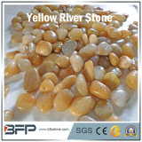 Polished камень Cobble камушка желтого цвета камня реки для украшения, конструкции, ландшафта