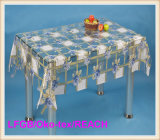 Vente chaude bon marché de nappe transparente estampée par PVC