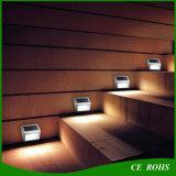 2LED 옥외 램프가 백색 온난한 백색 스테인리스 소형 태양 LED 벽 층계에 의하여 점화한다