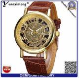 Vigilanze automatiche di scheletro dorate di qualità superiore del cinturino del cuoio genuino degli orologi degli uomini di nuovo disegno Yxl-838 2016