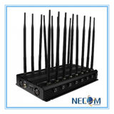 High Power 16 antena del teléfono celular y GPS y WiFi y VHF / UHF Jammer, bloqueador de señal para Todos 2G, 3G, 4G bandas celulares, LoJack 173MHz, 433 / 315MHz, GPS, WiFi, VHF, UHF Jammer