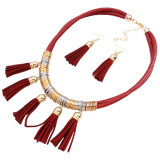 Серьги ожерелья чокеровщика заявления способа Tassel сплава ювелирные изделия кожаный установленные
