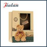 Bolso del regalo de las compras de la mano del papel de Brown Kraft del oso del juguete de la impresión