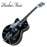 Musique de Hanhai/guitare électrique gauchère noire Semi-Creuse avec le grippement blanc