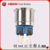 Ce RoHS 22mm IP67 делает переключатель водостотьким кнопка нержавеющей стали с кольцом СИД
