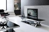 Carrinho da tevê/mobília da sala de visitas/tabela aço inoxidável/mobília Home/tabela moderna/tabela de vidro/tabela Dg012 vidro Tempered