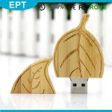 Aandrijving van de Flits van het Embleem USB van de Douane van de Vorm van het blad de Houten (TW074)