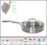 Flat Pan 5ply Composite Material Frying Pan