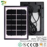 Painel solar 2W 5V do mini silicone Monocrystalline com frame plástico preto