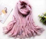 O grande tamanho amarrota o lenço da cor-de-rosa do Voile do poliéster
