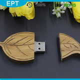 Commande faite sur commande en bois d'instantané d'USB de logo de forme de feuille (TW074)