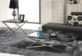 X形のフィート上の大理石の側面およびコーヒーテーブルの家具セット