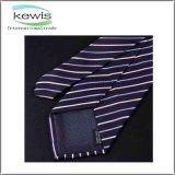 cravate estampée de configuration rayée de 145*8cm avec le logo fait sur commande
