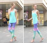 중국 좋은 가격 180GSM 85% 폴리에스테 15% 스판덱스 승화 Womans ISO 증명서를 가진 주문 운동 착용 요가 바지