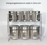8 frascos/frascos de vidro do armazenamento do envoltório do aço inoxidável do PC ajustados com tampa e prateleira