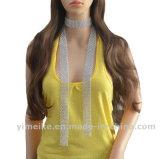 Una cravatta lunga di cristallo popolare delle 2017 della collana del maglione della catena dei monili donne della sciarpa