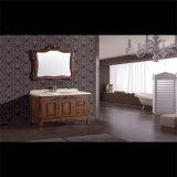 Gabinetes antigos do dissipador do banheiro da madeira contínua do projeto