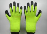 Теплым перчатки работы латекса вкладыша Терри зимы покрынные Crinkle (LS702)