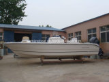Barca di velocità della vetroresina con il fuoribordo