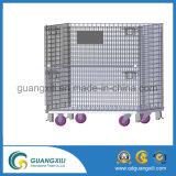 足車が付いている倉庫の記憶の鋼線の網ロール容器