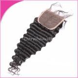 Extensiones profundas brasileñas del pelo del encierro de la onda del pelo humano del color natural
