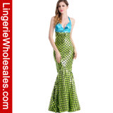 Платье сексуальное глянцеватое металлическое Sirena партии Halloween причудливый Costume Cosplay Mermaid